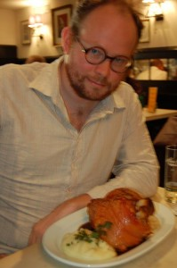 Schweinshaxe as Big as My Head at Gilden im Zims (note empty glass of Gilden Kölsch)